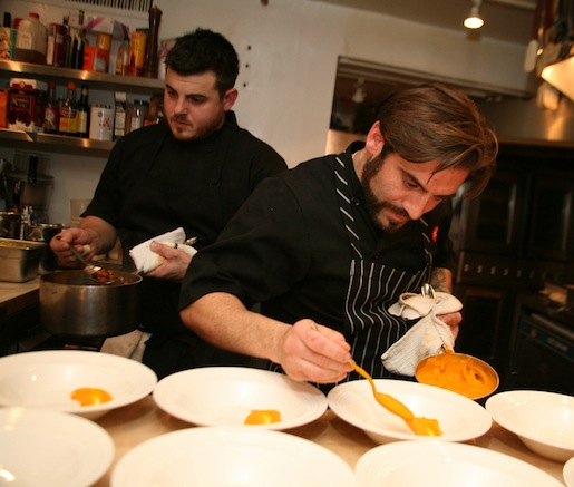 Ryan and Anthony DePersio plating Carrot Purée for Red Snapper